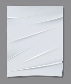 Realistic white sheet of crumpled paper