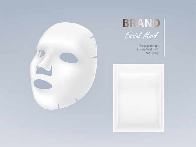 Realistic white sheet facial cosmetic mask isolated on background.