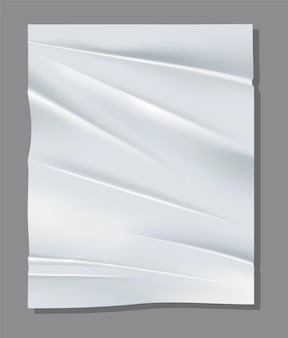Реалистичный белый лист мятой бумаги