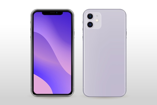Realistic white smartphone front and back