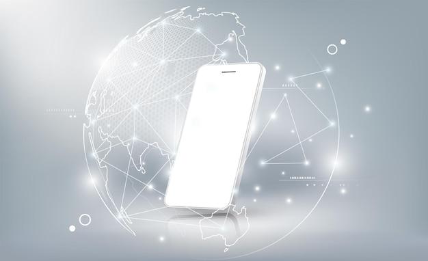 세계 홀로그램 지구 통신 개념 배경으로 현실적인 흰색 스마트폰 모형
