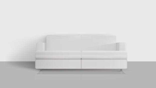 현실적인 화이트 소파. 빈 방에 흰색 소파입니다. 인테리어 디자인 요소.