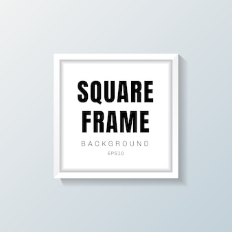 Realistic white square frame mockup on gray background