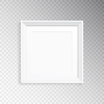 A realistic white square frame for photography or painting.