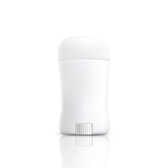 Realistic white stick deodorant bottle   on white background - blank packaging template for cosmetic antiperspirant product.  illustration