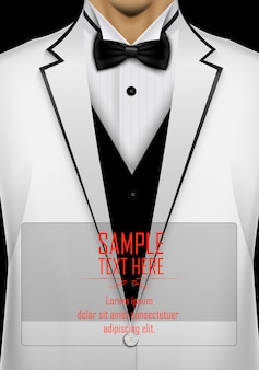 Realistic white suit and tuxedo with black bow tie template