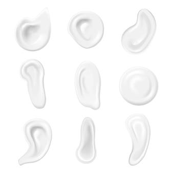 현실적인 흰색 소용돌이 또는 거품 크림, 무스 비누 또는 로션 세트 화장품.