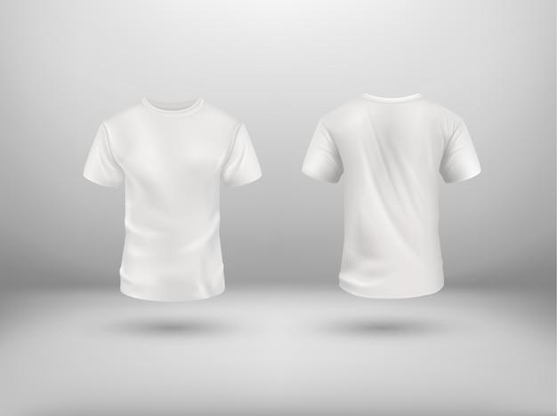 Реалистичная белая футболка на абстрактном фоне. векторный макет. спортивный пустой шаблон рубашки, вид спереди и сзади, мужская одежда для модной одежды, реалистичная форма для рекламной текстильной печати.