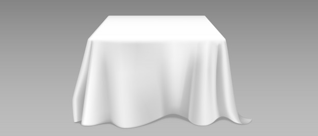 Realistic white tablecloth on square table