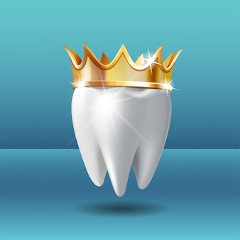 Realistic white tooth in golden crown. tooth care dental medical stomatology vector icon. 3d realistic .