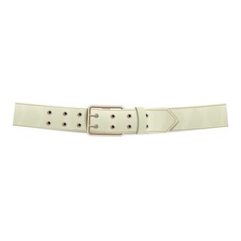 金属製のバックルが付いたリアルな白いズボンレザーベルト