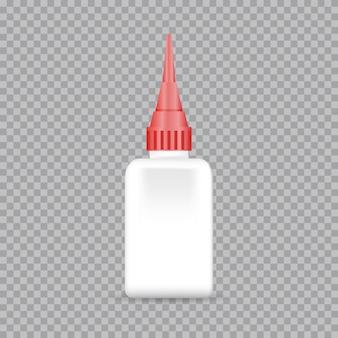 現実的な白いチューブの接着剤は透明に分離されました。ベクトルイラスト。