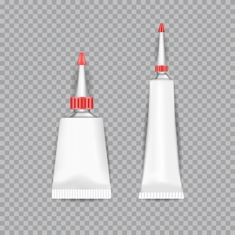 Realistic  white tubes glue isolated on transparent background.  illustration.