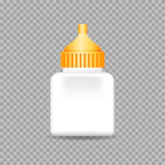 Realistic white tubes glue isolated on transparent . vector illustration.