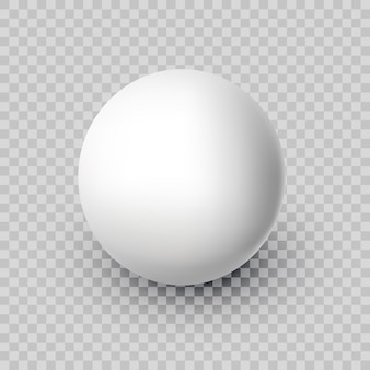 Realistic white vector ball isolated on transparent background abstract sphere with shadow eps10