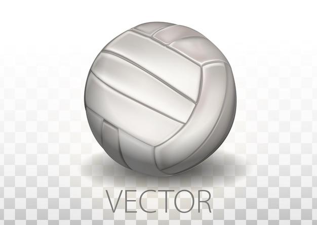 투명 한 배경에 고립 된 현실적인 흰색 배구 공입니다. 팀 게임의 벡터 일러스트 레이 션을 위한 스포츠 장비