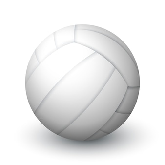 Realistic white volleyball ball sports equipment leather ball for beach volleyball or water polo