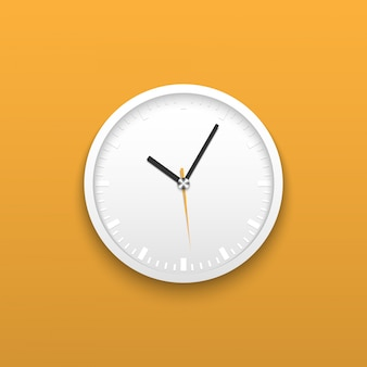 Realistic white wall office clock on yellow background