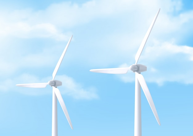 Realistic white wind turbine and blue sky