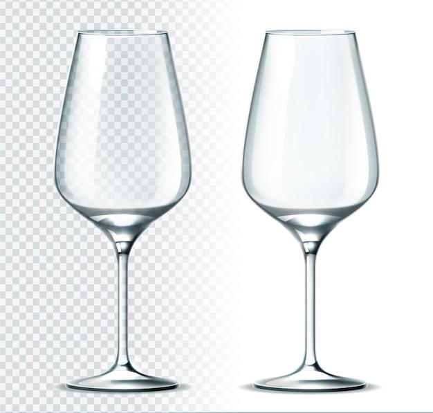 リアルな白ワイングラスのイラスト