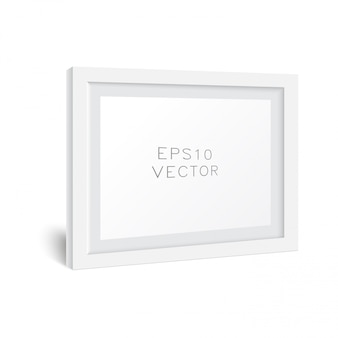 Realistic white wooden photo frame with soft shadow. white square photo frame mockup, .
