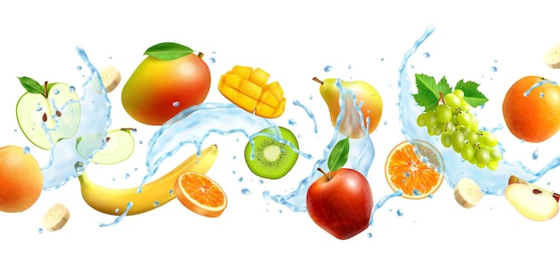 Реалистичные целые и нарезанные фрукты в брызгах воды