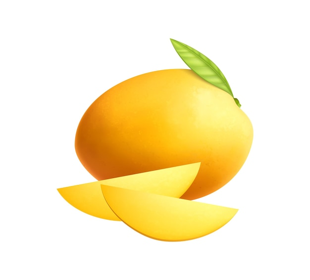 Realistic whole mango with leaf and two slices on white