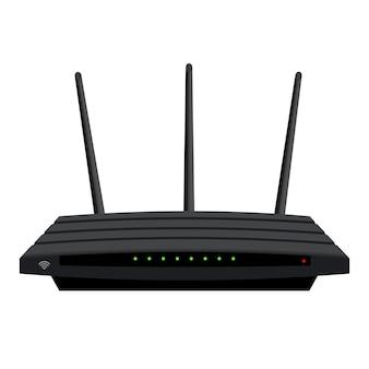 Реалистичный маршрутизатор wi-fi с тремя антеннами, изолированными на белом. зеленые светодиоды на черном корпусе. устройство для беспроводной раздачи интернета. вектор eps 10.