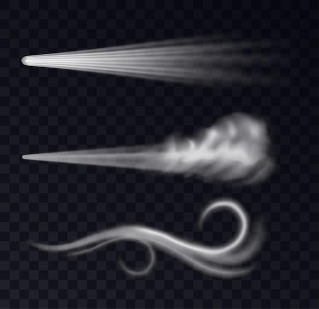 リアルなウィンドトレイル。ダストスプレーとスモーキーストリーム、ブローフローカーブシェイプセット。空気の霧または爆風が孤立し、飛んでいる煙。 3dベクトル図