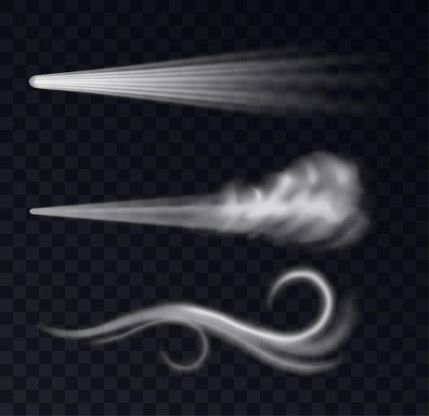 Realistic wind trails. dust spray and smoky stream, blowing flow curved shapes set. air fog or blast isolated, flying smoke. 3d vector illustration