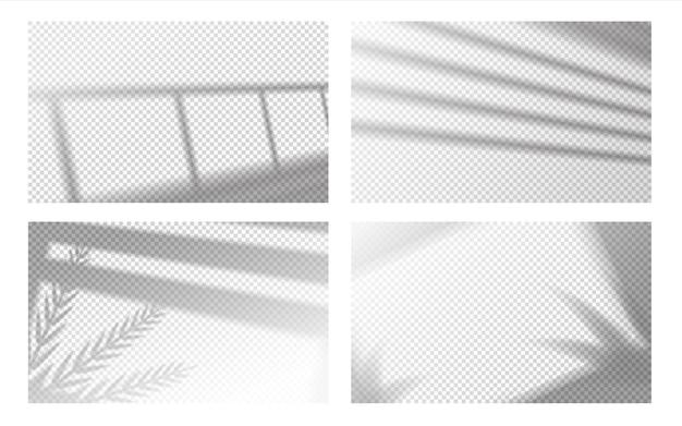 Реалистичная тень окна. оконная рама и жалюзи с тропическими листьями, оконный световой эффект. набор векторных прозрачных теней изображения