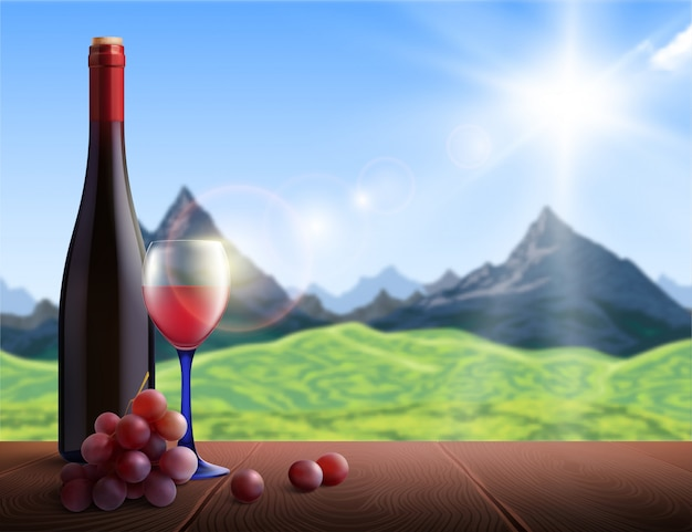 Realistic wine bottle and glass with mountains