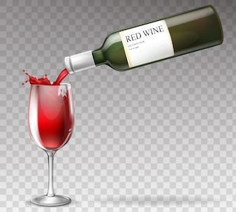Realistic wine bottle, splashing in wineglass