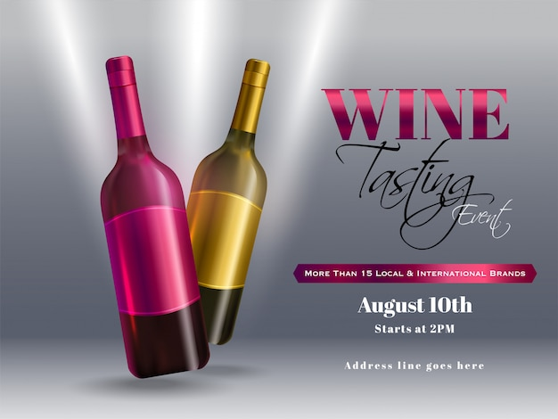 Realistic wine bottles on glossy grey background for wine tasting event party banner or poster design.
