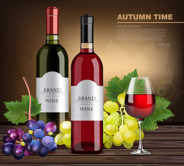 Realistic wine bottles and grapes