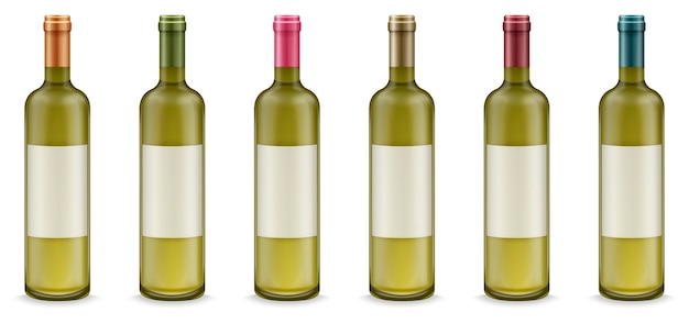 Realistic wine bottles with label in different colors set.