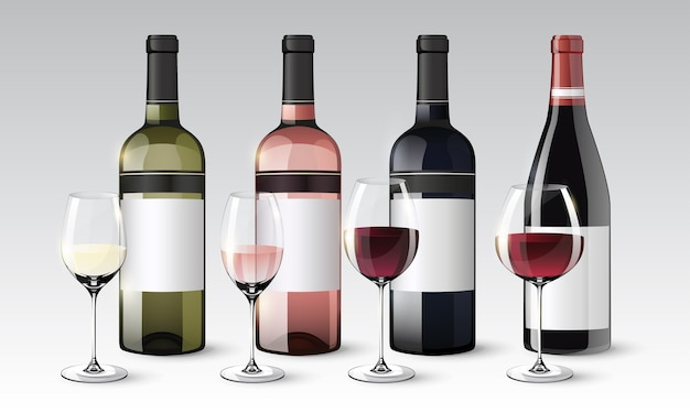 Realistic wine collection of bottles and glasses with white red rose beverages isolated