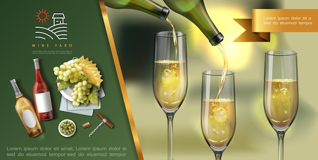 Realistic wine colorful template with white wine is poured into glasses from bottles corkscrew cheese green olives