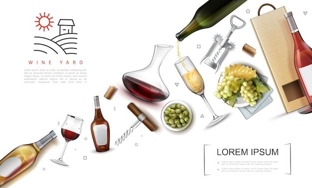 Realistic wine elements composition with bottles glasses of wine corks paper bag corkscrews green olives