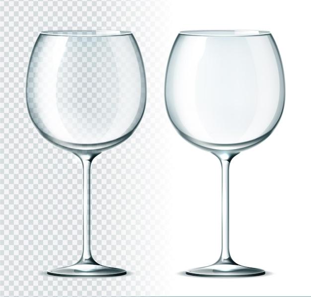 현실적인 와인 잔. 알코올 음료를위한 고급 레스토랑 유리 제품. 빈 안경