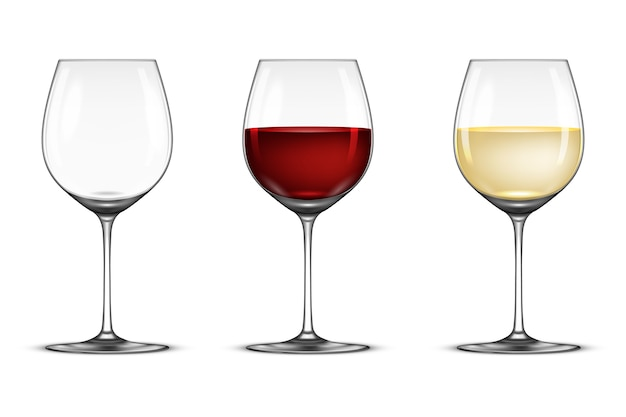 Realistic wineglass set - empty, with white and red wine, isolated on white background.