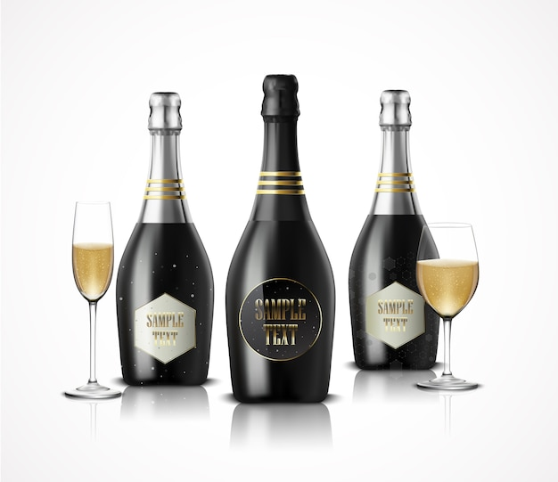 Realistic wineglass with black bottles of champagne