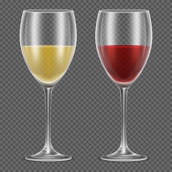 Realistic wineglasses with red and white wine