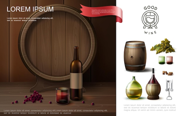 Realistic winemaking colorful composition with wooden barrel original bottles of wine corkscrew glasses and grapes bunch  illustration