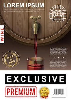 Realistic winemaking colorful poster with red wine pouring out of wooden barrel into glass  illustration