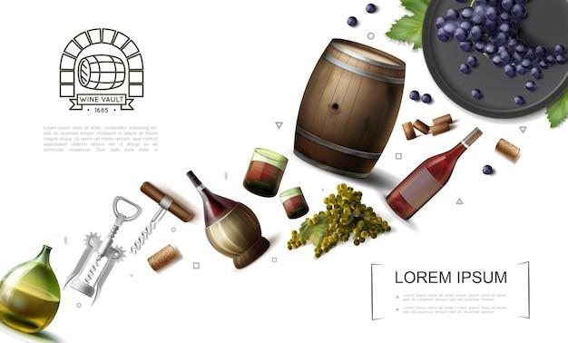 Raccolta realistica degli elementi di vinificazione con i vetri delle bottiglie e il barilotto di legno dell'illustrazione dei cavatappi dei grappoli dell'uva da vino