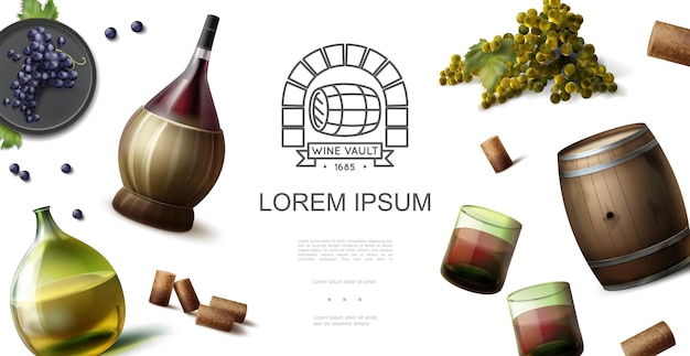 Реалистичная концепция винодельческой отрасли с оригинальными бутылками красных и белых вин, бокалами, деревянной бочкой, пробками, гроздьями винограда