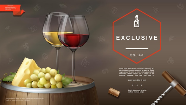 Realistic winemaking with corkscrew cork glasses of red and white wines cheese grape bunch on wooden barrel illustration