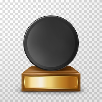 Realistic winner hockey puck award on pedestal
