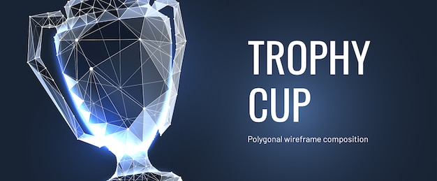 Realistic winner trophy. polygonal wireframe